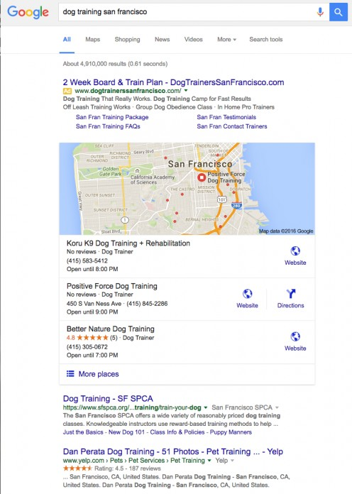 The pet business search results with reviews and star ratings stand out from the rest of the pack