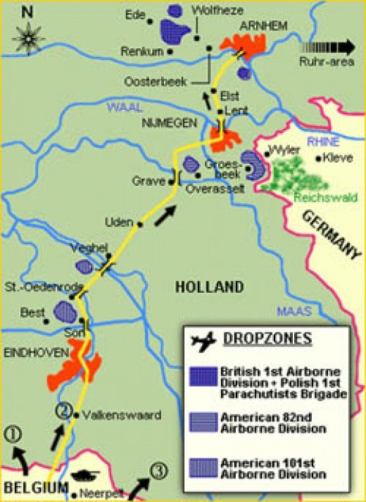 XXX Corps' route north from Belgium would first pass 82nd then 101st US Airborne drop zones before heading to relieve British 1st Airborne at Arnhem