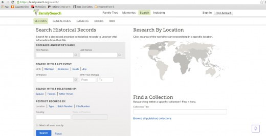 "On the main page, go to the ""search"" tab and select ""records"". It will take you to this search page."