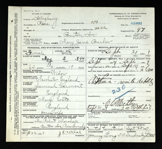 Example of death certificate found on Ancestry.