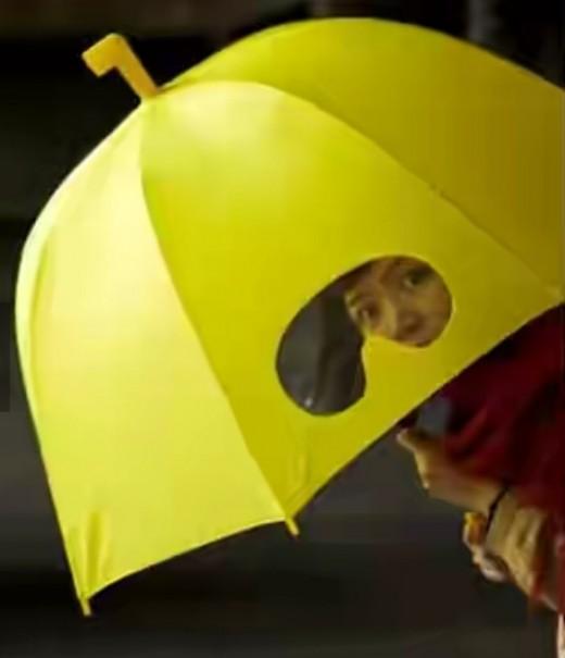 Bubble umbrella with binocular port