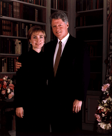 The official White House portrait of the Clintons.
