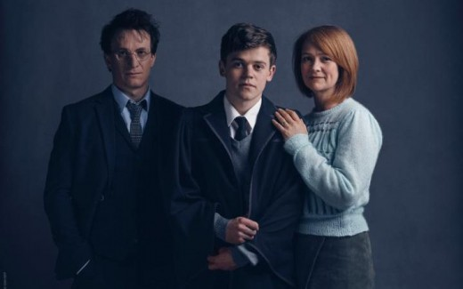 Jamie Parker, Sam Clemmett, and Poppy Miller who will be playing Harry, Albus, and Ginny in Cursed Child at London's Palace Theater.