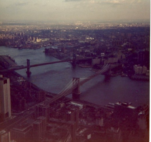 View of the bridges between Brooklyn and Lower Manhatten, circa 1979.