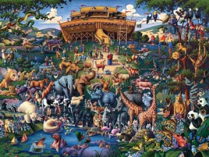 Noah lets the animals out after the flood is over