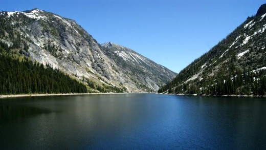 The lakes in the canyons of the Bitterroot Mountains were formed when, in the late 1930s, men went in and dammed the creeks to capture the snowmelt to be used in the Bitterroot valley during the summer dry seasons.