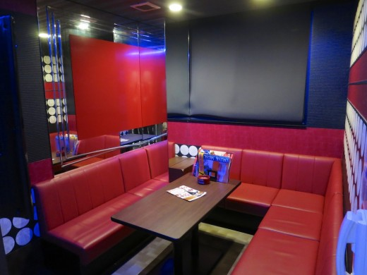 A typical karaoke box room