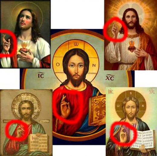 The hand gesture reveals the meaning of John symbols in Revelation.