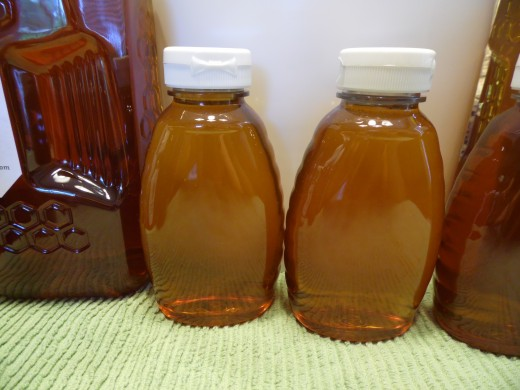 Bottled raw honey.