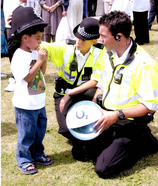 Thames Valley Police Officers engage with the community in Slough
