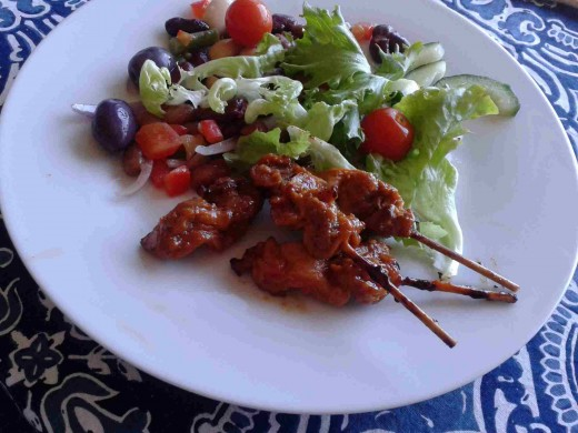 Chicken Kebabs And Salad