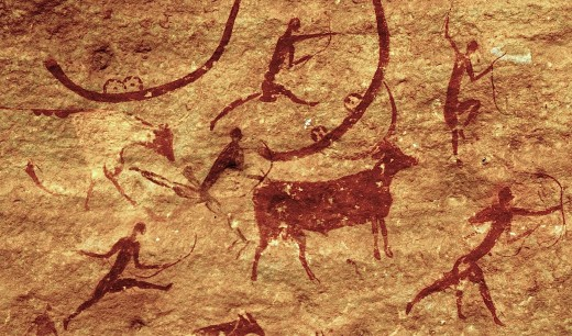 Ancient depiction evidencing the hunt  which is necessary for hunter-gatherer, societies survival.