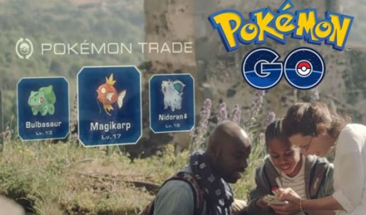 Part of the Pokemon Go advertisement showing players trading Pokemon