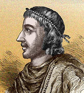 An artist's impression of how Knut would have looked - he was a young man of about eighteen when he mounted the throne of England, a masterful leader of men and would become an important figure in the known world
