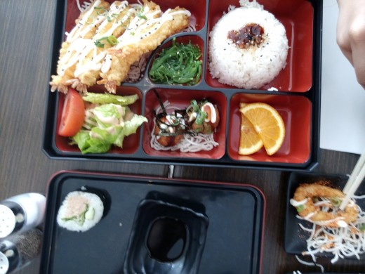 Deluxe tempura prawn bento and sushi