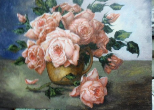 Completed Still Life Painting of Old Fashioned Roses by Stan Awbrey