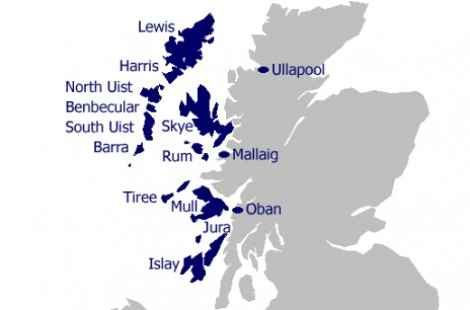 The Inner Hebrides - Mull is bottom centre, with Iona on its seaward side