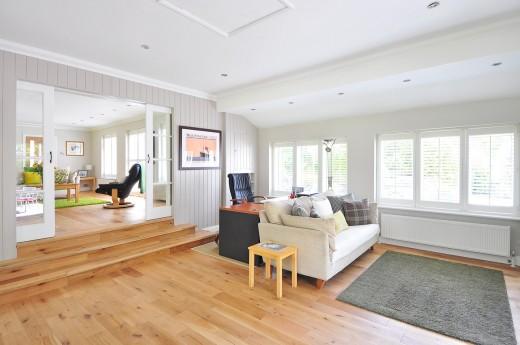Hardwood flooring of a house.