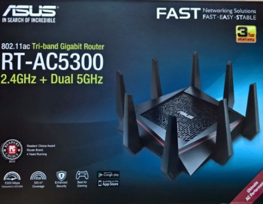 The Asus RT-AC5300 tri-band wireless router box front