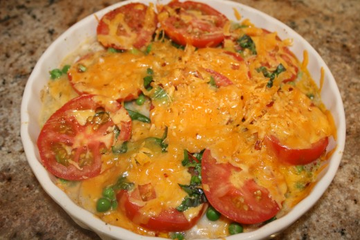 Tomatoes with cheese and spring onions