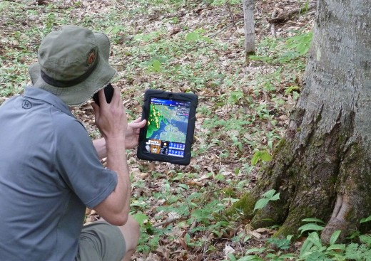 Utilizing my tablet and GPS during a wilderness tour to estimate storm arrival and intensity. Still everyone should know how to use the tried-and-true compass.
