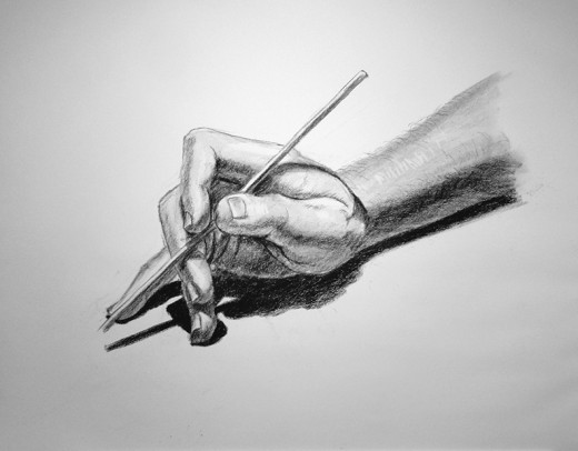 Charcoal drawing of a hand, by myself, Denise McGill.