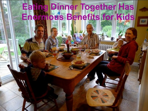 Eating dinner together builds a strong family bond and helps kids do better in school.