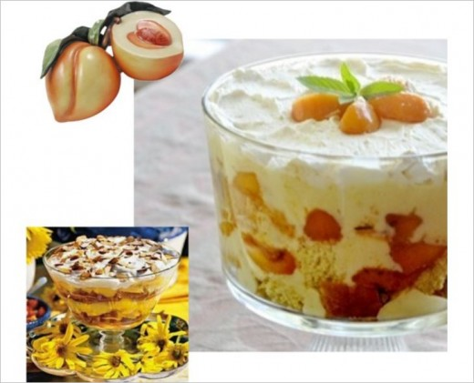 Use a regular trifle recipe and use peaches instead of strawberries or bananas.