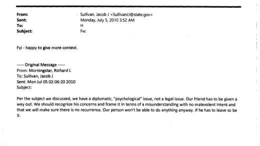 Wikileaks email from Secretary of State Hillary Clinton's deputy chief of staff Jake Sullivan to Clinton, July 5, 2010
