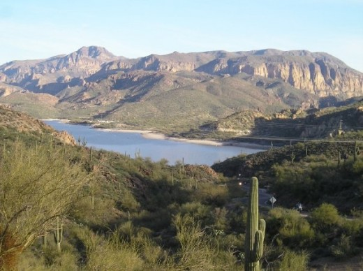 Very amateur photo taken near the Superstition Mountains. A lake in the middle of the desert!