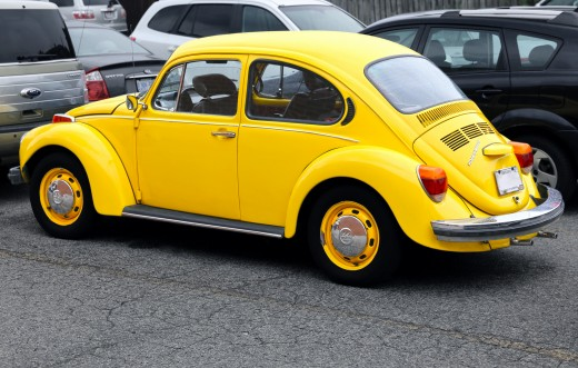 The yellow Volkswagen Bug, the best of all the Volkswagens.