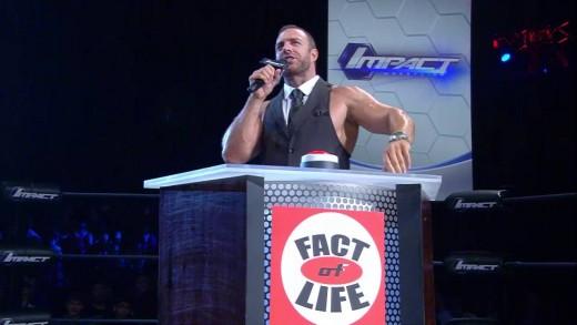 Eli Drake Hosting his wrestling talk show, Fact of Life