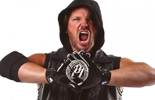 AJ Styles doing his signature pose.