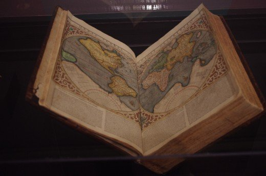 """""""Mercator/Braun and Hogenburg/Blaeu Composite Atlas (Vol. 1)"""" (17th Century). Made with ink on paper (hand-tinted). Once again brought by the Europeans."""