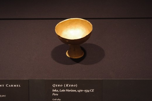 """""""Qero (Kero)"""" (Late Horizon, 1470-1534 AD). Made of gold alloy. Nothing says land rape like having a nice cup of wine with invading Spaniards."""