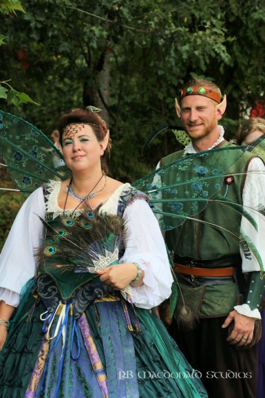 The Faerie Queene, accompanied by one of her elfin knights, lends a touch of magic to the Renaissance Faire.