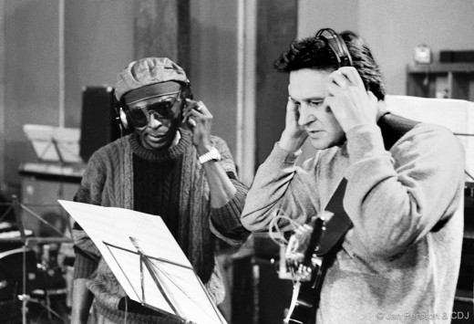 "Miles Davis & John McLaughlin at Easy Sound Studio, Copenhagen. January 1985, recording ""Aura""."