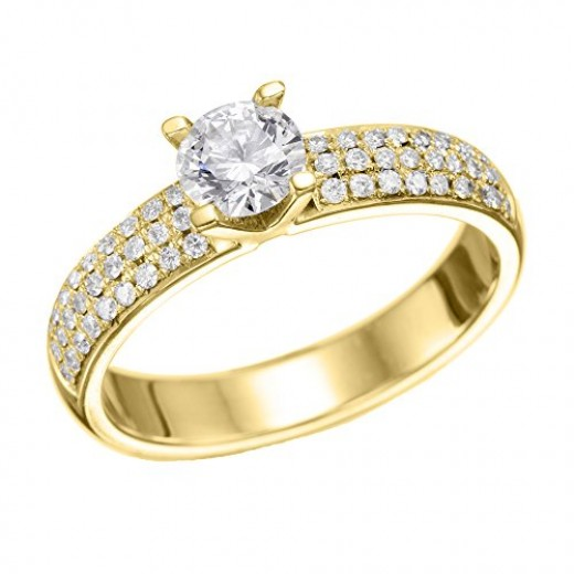 GIA Certified 14k yellow-gold Round Cut Diamond Engagement Ring