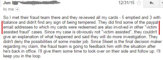 Letter from a fellow victim showing than untampered with cards were found by their model to have supposedly had their PINs voluntarily given away.  IMPOSSIBLE !