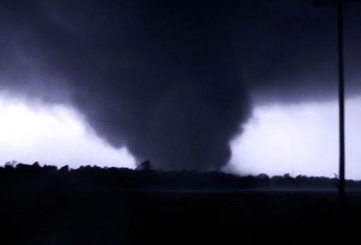 The Joplin Tornado as it decimates the town.