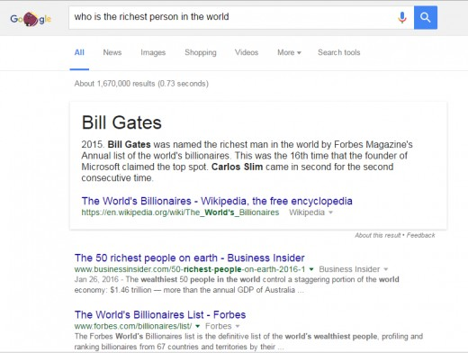 Google live results of the world'd richest man.