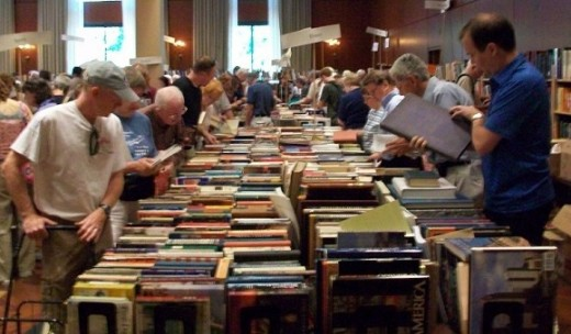 Browsing for books at a used book fair