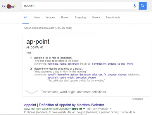 Quick dictionary with Google Search