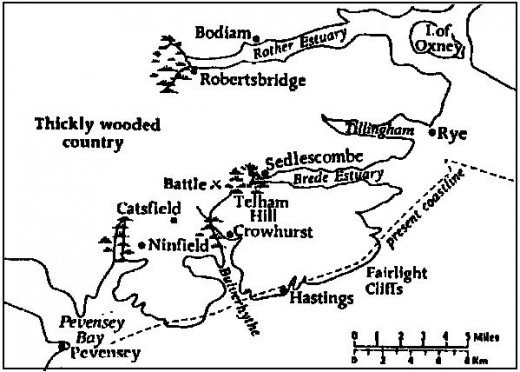 The south coast in 1066 was broken by inlets and river mouths that have been silted over in the subsequent millennium
