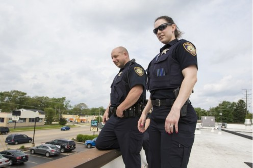 McHenry County officers  take positions on roof of  Dunkin Donuts for a surveillance  exercise