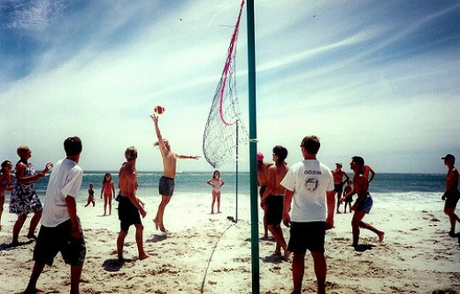 Playing volleyball on the beach can be a ton of fun.