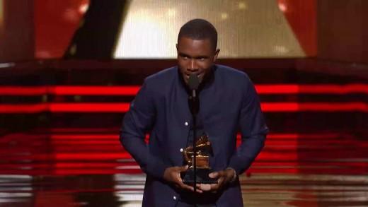 Frank Ocean with his Grammy Award