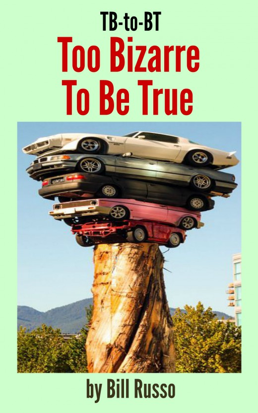 : A sculpture in Vancouver B.C.  Five full size cars layered on top of a 20 foot Cedar stump.  Art by Marcus Bowcott. He capped his stack of progressively bigger autos by putting a Trans Am on the top.  It's a statement on the area's overgrowth.