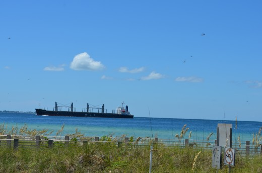 Barge leaving Tampa Bay.