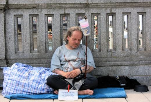 a homeless Hamburger (  Hamburg is a German city. )